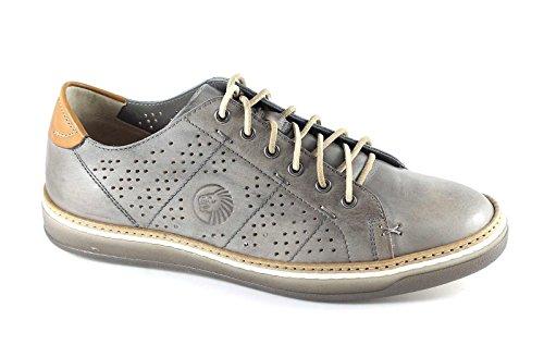 LION 20782 grigio perla scarpe uomo sportive casual pelle forate 42