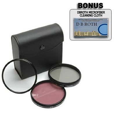 Zeikos Filter set for Sony Alpha DSLR-A200, DSLR-A300, DSLR-A350 - 55mm High Resolution 3-piece Filter Set (UV, Fluorescent, Polarizer) - Black
