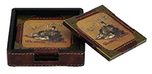"""Antiques Finished Rail Road Coasters Set of 5 Coaster's 5""""w,1"""" H Wood Leather Royal"""