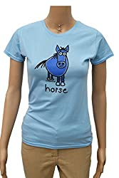 WOW! Womens 'Horse' Sky blue T.shirt