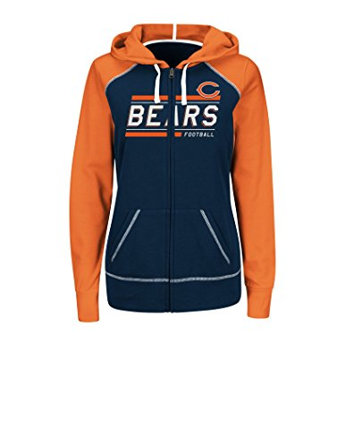 NFL Chicago Bears Women's Intense Drive Hooded Full Zip Sweater, XX-Large, Traditional Navy/Classic Orange/White (Chicago Bears Womens Hoodie compare prices)