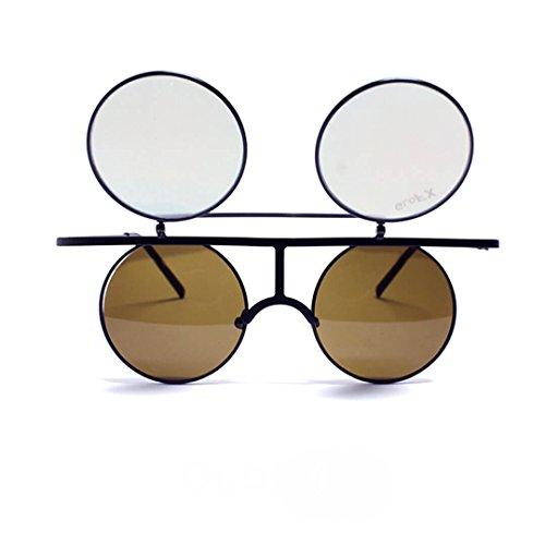 GloFX Flip Diffraction Glasses - Matte Black Round Vintage Orange Mirror