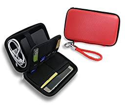 ZHPUAT Portable External Hard Drive Case, PU Leather Shockproof Carrying Case + Key Ring with Attached Lanyard - Red