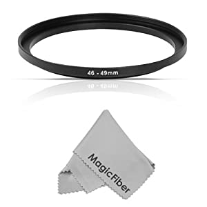 Goja 46-49MM Step-Up Adapter Ring (46MM Lens to 49MM Accessory) + Premium MagicFiber Microfiber Cleaning Cloth