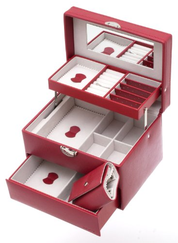 Davidt's Euclide Jewellery Box with Auto Opening Drawers, Sectioned Trays, Mirrored Lid in Red