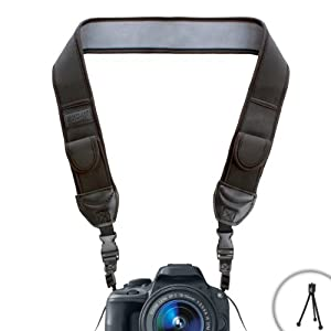 USA Gear Adjustable Anti-Slip Camera Media Strap with Accessory Storage Pockets for Nikon D5100 , D5200 , D7100 , COOLPIX P330 , P510 , P520 , L320 , L810 , L820 and More Digital Cameras! *Bonus Mini Tripod*