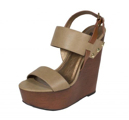 Soda Women'S Chef Wide Strap Ankle Strap Faux Wooden Platform Wedge Sandal, Stone Leatherette, 7.5 M Us front-695457