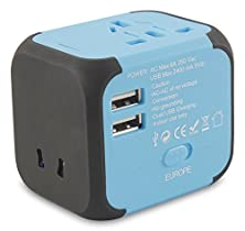 buy Travel Adapter Charger All-In-One Worldwide Ac Wall Plug With Universal Dual Usb - Built-In Safety Fuse - By Lgm Acquisitions - 100% Money Back Guarantee