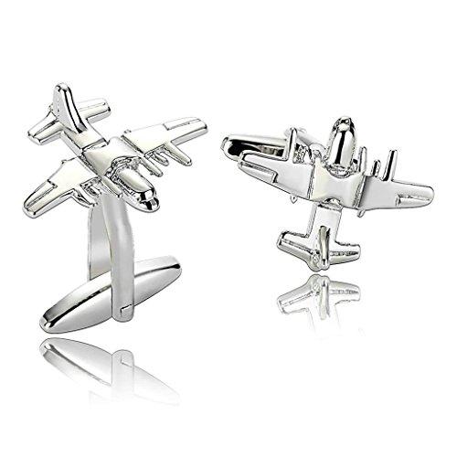 Daesar Men's Stainless Steel Cuff Links Silver Bomber Plane Cufflink (J Goodman Cufflinks compare prices)