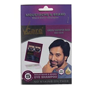 Vcare Moustache and Beard Black Color Shampoo (Pack of 10)