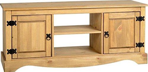 Cheap  Corona 2 Door 1 Shelf Flat Screen TV Unit in Distressed Waxed Pine