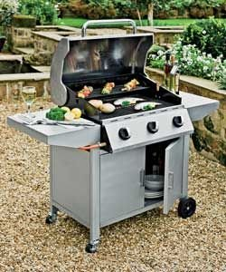 DELUXE Stainless Steel Hood 3 Burner Gas Barbecue