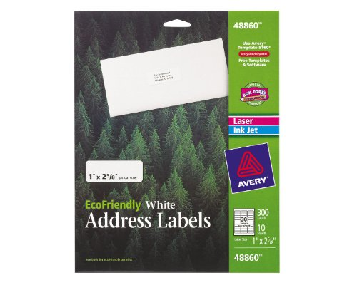 Avery EcoFriendly Mailing Labels for Laser and Ink Jet Printers, 1 x 2.625