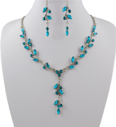 Jay Jewellery - Blue Acrylic Crystal Leaf Necklace and Earrings Set