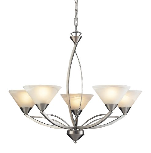 B004HWZCTG Elk 7637/5 5-Light Chandelier In Satin Nickel and Marbleized White Glass
