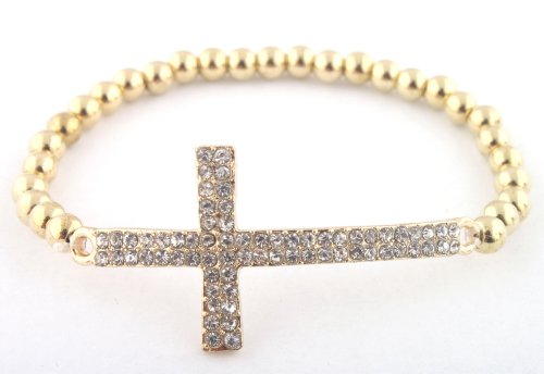 Gold Iced Out Cross Elastic Stretch Bracelet