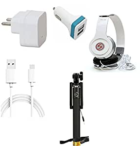 13Tech 1 Amp Charger+1.5 mtr Copper (Data Transfer+Charging) Cable +VM46 Headphones+2 Jack Car Charger+Selfie Stick (Aux) for Intex Aqua Power HD