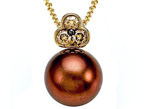 Carlo Viani® South Sea Chocolate Pearl Pendant with Chocolate Diamonds in 14k Yellow Gold
