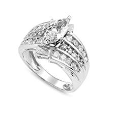 buy Tripple Band Solitaire Wedding Engagement Brilliant Cz Ring Marquise Shape Stone
