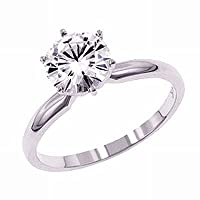 Gorgeous Women's 14k White-gold (1 CT) Moissanite Solitaire Engagement Ring