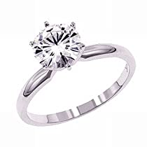 Hot Sale Gorgeous! Women's 14k White-gold (1 CTW) Moissanite Solitaire Engagement Ring size 7