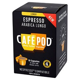 Get CafePod Arabica Lungo Pack Of 10 Nespresso Compatible Coffee Capsules by CafePod