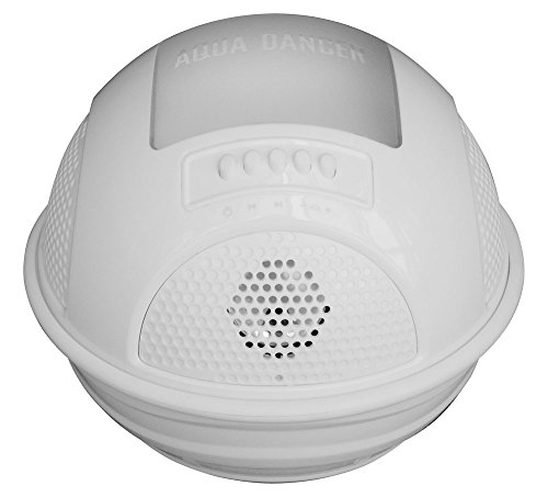 Floating Bluetooth Waterproof Pool Speaker System With Rechargeable Battery, Fm Radio, Micro Sd Memory Card Reader, White
