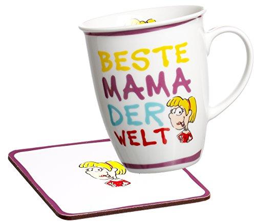 035964 Kaffeebecher Beste Mama der Welt mit Untersetzer im Geschenkkarton, Geschenk-Set 2-teilig