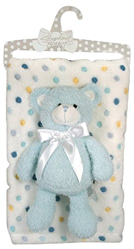Stephan Baby Super Soft Multi Dot Fleece Blanket and Floppy Bear Gift Set, Blue