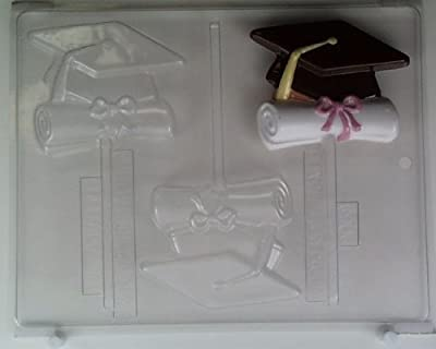 Cap & ribbon-tied diploma shape G006 Graduation Chocolate Candy Mold
