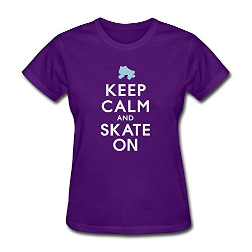 Purple Design Keep Calm And Skate On - Roller Derby - Skater Medium T-shirt For Women by ASmithws