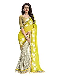 RUDDHI WOMEN'S DESIGNER YELLOW & BEIGE FASHION GEORGETTE SAREE