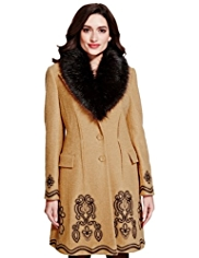 Per Una Faux Fur Collar Coat with Wool