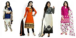 Sky Global Women's Printed Unstitched Regular Wear Salwar Suit Dress Material (Combo pack of 4)(SKY_Combo_342)(SKY_532_Pink)(SKY_518_Blue)(SKY_503_Orange)(SKY_523_White & Black)