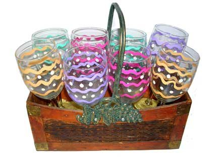 ArtisanStreet's Gift Set of 8 Fiesta Wine Glasses in Basket. Hand Painted, One of a Kind, Signed
