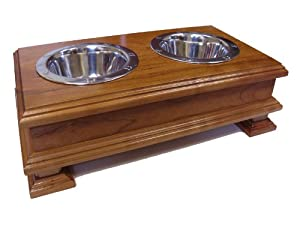 Finest Solid Wood Cherry Elevated Dog Feeder - Raised Dog Bowl Stand Or Dog Food Dish Holder - For small DOGS Yorkies Boston Terrier Chihuahua Beagles Terriers Spaniels and more.
