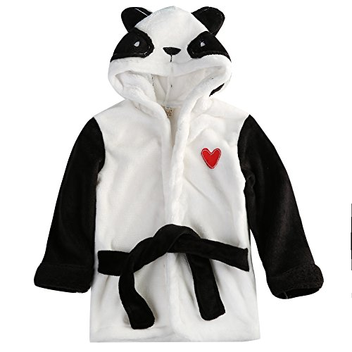 Hotone Baby Cotton Cartoon Animal Hooded Towel Bath Robe Super Absorbent (6-12 Months, Panda)