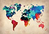 (13x19) World Watercolor Map 1 Educational Poster