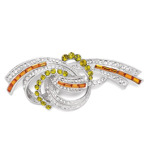 Christmas Gifts Pugster Clear Peridot Orange Crystal Twined Ribbon Brooches And Pins