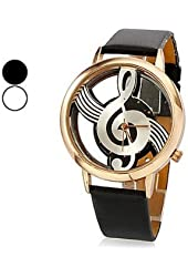 Yong Zhang New Free Shipping, Unique Creative Women's Quartz Analog Hollow Musical Note Style Dial Pu Band Golden Wrist Watch,new Fashion,ladies Watch Black+ Crystal Pen
