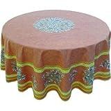 jojo la cigale - Tablecloth LE CLOS DES OLIVIERS Round Spill-Proof Cotton Print 180cm Terracotta
