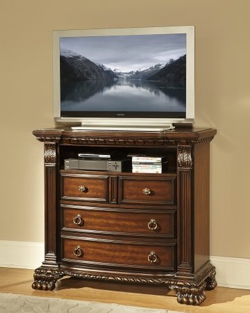 Homelegance Orleans 4 Drawer Tv Chest In Rich Cherry