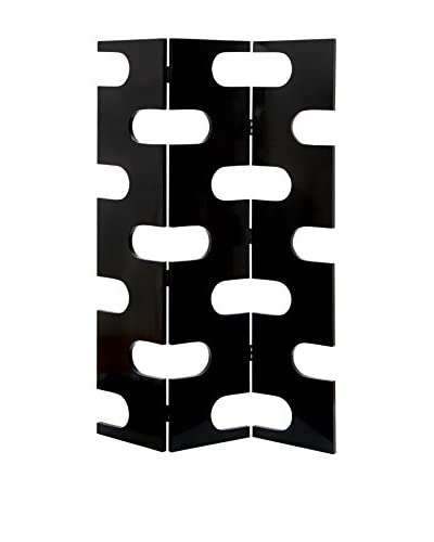 UMA Wood 3-Panel Screen, Black