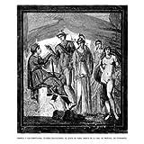 Grabado antiguo (1864) - Xilografía - Pompeya.- El Juicio De Paris, Fresco De La Casa De Próculo (17.5x15.5),...