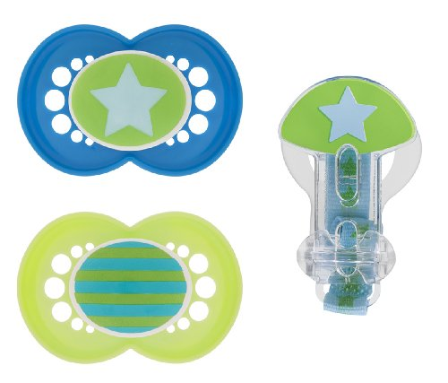 Mam Trends Silicone Pacifier With Clip, Blue, 6 Plus Months, 2-Count front-887726