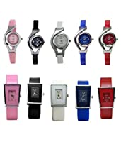 Combo of 10 Glory Designer Analog Watches for Girls and Women (White,Black,Blue,Pink,Red)