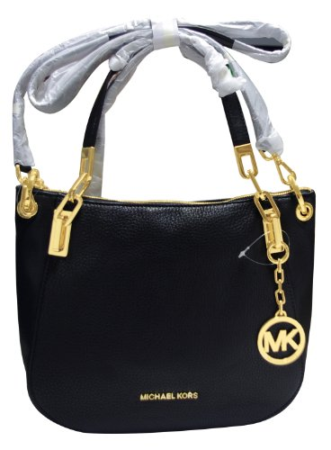 MICHAEL Michael KorsMichael Kors Brooke Medium Black Leather Shoulder Tote 30H3GOKE2L NEW