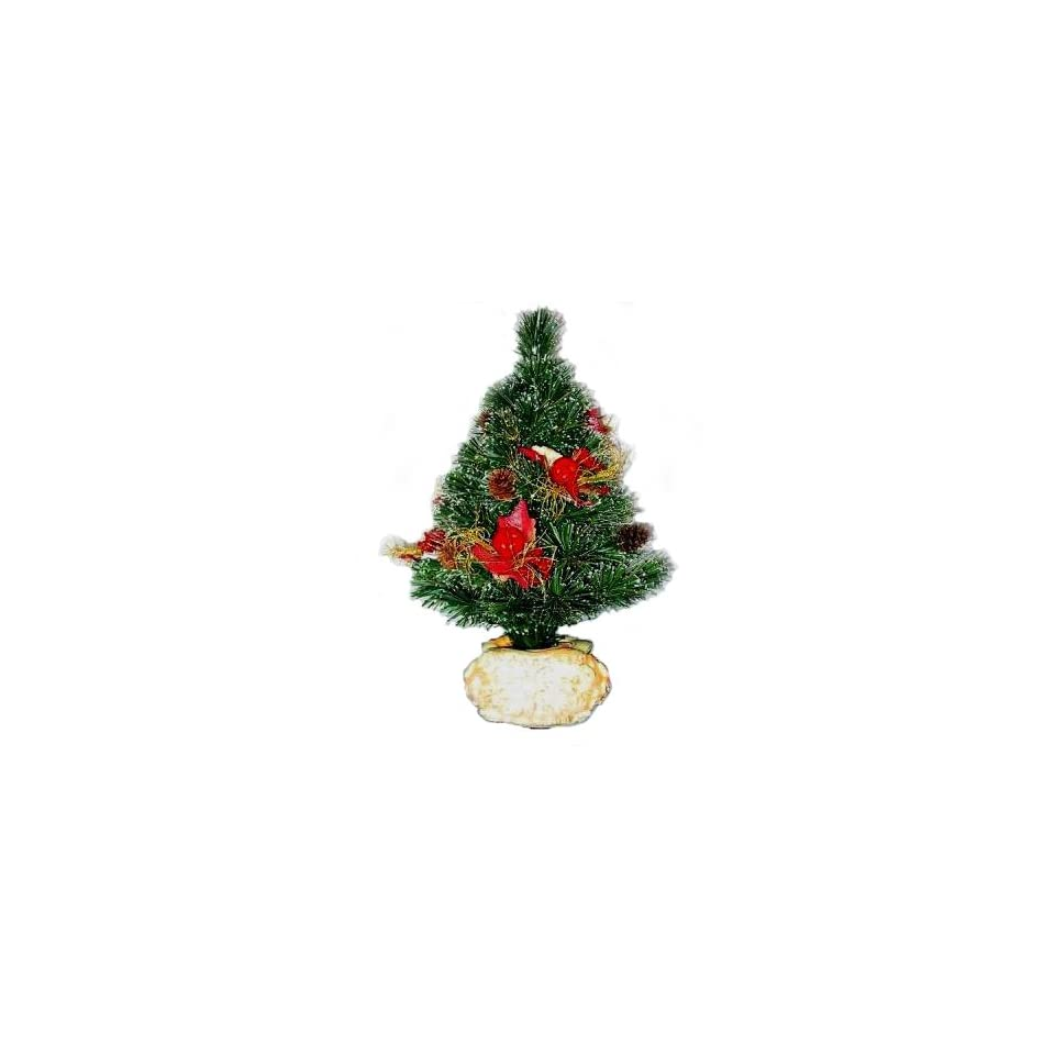 National Tree Company SZFX7 149 18 18 Inch Fiber Optic Fireworks Tree with Red Apples, Cones and Fiberglass Lighted Pot   Multi Wheel