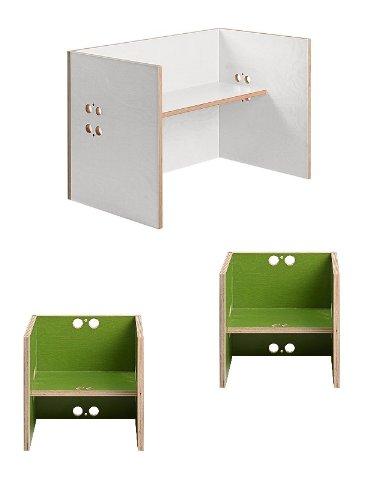 Kindersitzgruppe – Kindermöbel – 2 Kinderstühle + 1 Kindertisch / Bank (Stühle / Hocker grün, Tisch / Bank weiß) günstig