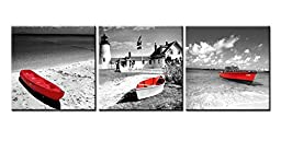 Canvas Print Wall Art Painting For Home Decor Black And White Beach Historic Old Lighthouses Seascape With Red Boats In Vintage Style In Bristol Dot Coastal Maine England 3 Pieces Panel Paintings Modern Giclee Stretched And Framed Artwork The Picture For